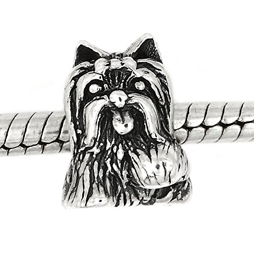 Sterling Silver Oxidized Reflections Yorkshire Terrier Dog with Bow European Bead Charm -