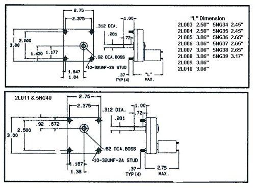 Dayton 2L003 Gearmotor,0.5rpm,12vdc - 2L003