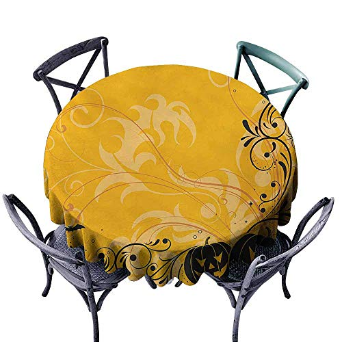 VIVIDX Round Tablecloth,Halloween,Carved Pumpkins with Floral Patterns Bats and Web Horror Jack o Lantern Artwork,for Banquet Decoration Dining Table Cover,60 INCH,Orange -