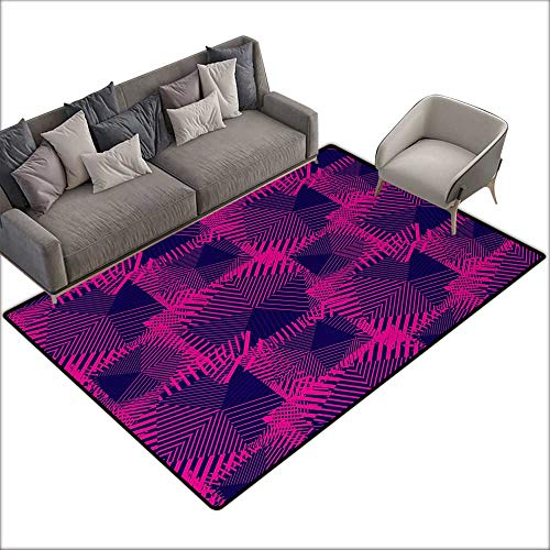 Children's mat Magenta Trippy Zip Style Mix Pattern with Dark Color Effects and Diagonal Linked Lines W79 xL94 Suitable for Bedroom, Living Room, Games Room, Foyer or Dining Room