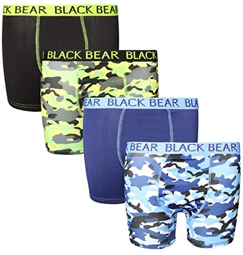 Black Bear Boys' Performance Dry-Fit Compression Boxer Brief (Pack of 4) (Large/12-14, Green Camo, Blue Camo)' ()