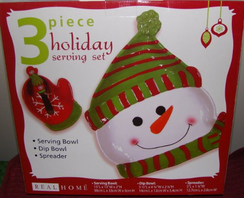 Three Piece Christmas Holiday Ceramic Snowman Serving Set - Serving Bowl, Dip Bowl and Spreader - Bowl Dip Snowman