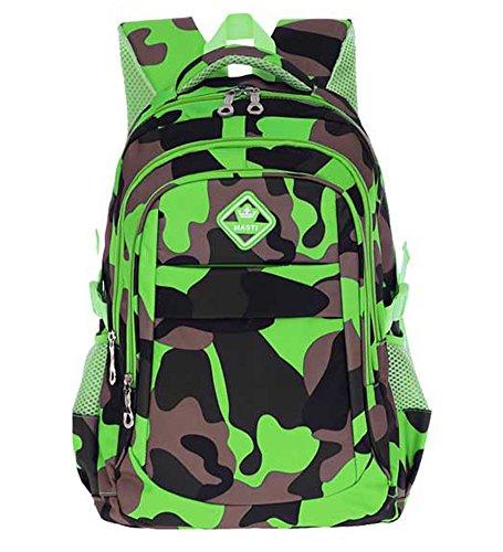 School Green - Kitmei Cool Camo Book Bag Kids School Bookbag Backpack for Boys Green