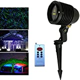 Laser Christmas Lights Outdoor LSIKA-Z RGB Stars Projector Waterproof Red, Green and Blue Christmas Laser Lights with Remote for Party Holiday House Decoration