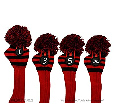Pacific Golf Clubs Head Covers 1 3 5 X Black and Red Knit Retro Old School Vintage Stripe Pom Pom Throwback Classic