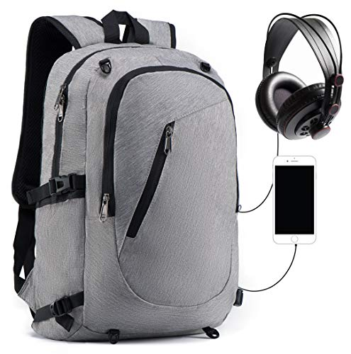 Slim Laptop Backpack, Outdoor Sports Backpack with USB Charging/Headphone Port and Basketball Net, Casual Travel Daypack Fits 15.6