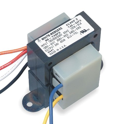 White-Rodgers Class 2 Transformer, 40 VA Rating, 120/208/240VAC Input Voltage, 24VAC Output Voltage - 90-T40F3