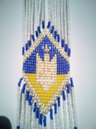 Ukrainian Folk National Costumes (Ukrainian Tryzub Gerdan, White-Blue-Yellow Beaded Long Necklace)