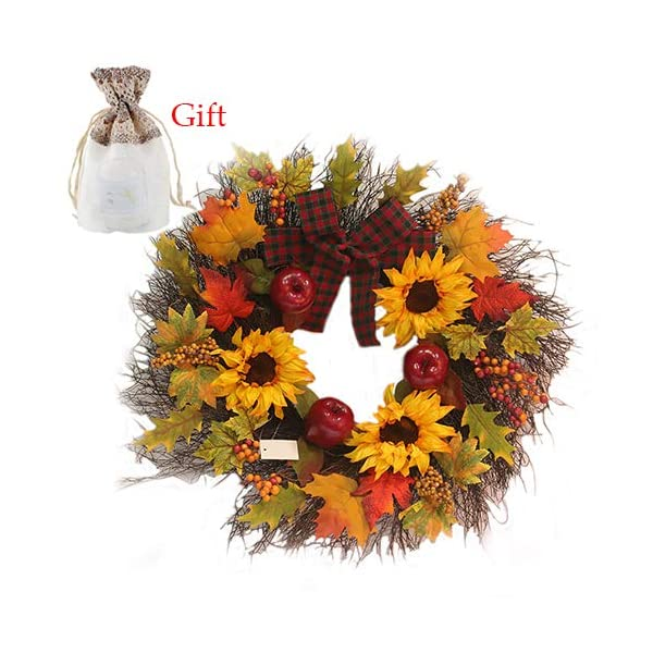 Front Door Wreath Harvest Wreath Silk Fall Door Wreath, Sunflower Maple Leaf Bowknot Christmas Wreath for Thanksgiving Halloween Christmas Decorations(17.72in)
