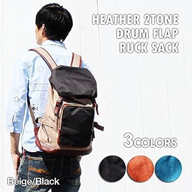 abe9d90ced74 Amazon.co.jp: [ブラウン/オレンジ] ヘザー フラップ ドラム リュック メンズ マウンテンパック リュックサック リュック: シューズ& バッグ