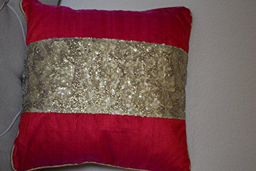 (Designer Cushion Covers Made with Raw Silk and Golden Sequin. Set of 2. Elegant and Bold. 16''size'')