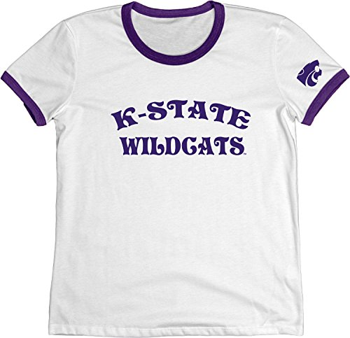 NCAA Kansas State Wildcats Adult Women NCAA Women's Vintage Supima Ringer Tee,Large,Purple (Vintage Kansas State)