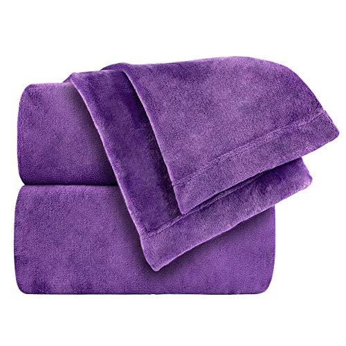 Cozy Fleece Comfort Collection Velvet Plush Sheet Set, Twin, Purple (Twin Fleece Fitted Sheet)