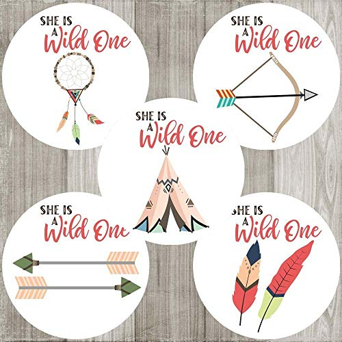 (She is a Wild One Sticker Labels - Tribal Boho Girl Birthday Baby Shower Party Favors - Set of)