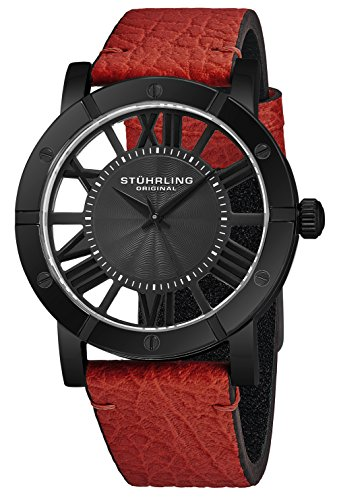 Stuhrling Original Black PVD Mens Watch Red Leather Strap - Swiss Quartz Ronda Mvmt - Black Dial Sports Watch - 881 Watches for Men Collection