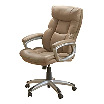 leather desk chair. Stress Away Leather Office Chair Padded Executive Swivel Computer Desk (Brown) T