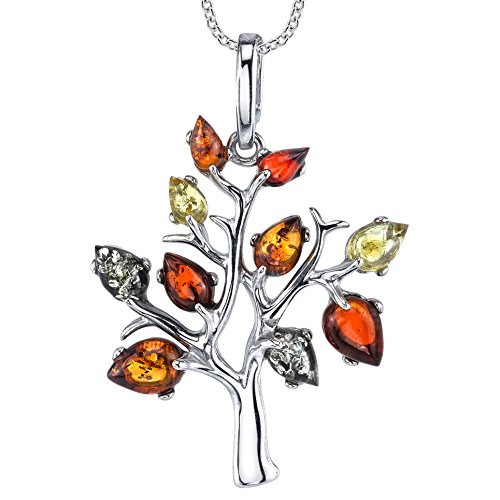 Sterling Silver Multi-Color Baltic Amber Tree of Life Pendant Necklace 18