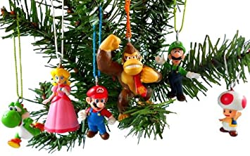 Super Mario Brothers Christmas Ornaments Figurines Pack of 6 with ...