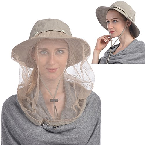 UShake Mosquito Head Net Hat, Safari Hat Sun Hat Bucket Hat with Hidden Net Mesh Protection from Insect Bug Bee Mosquito Gnats for Outdoor Lover Men or Women