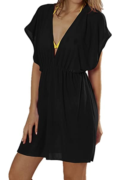d45c975bfd7 DQdq Petite Women's Beach Swimsuit Cover up V-Neck Dress XS Black at Amazon  Women's Clothing store:
