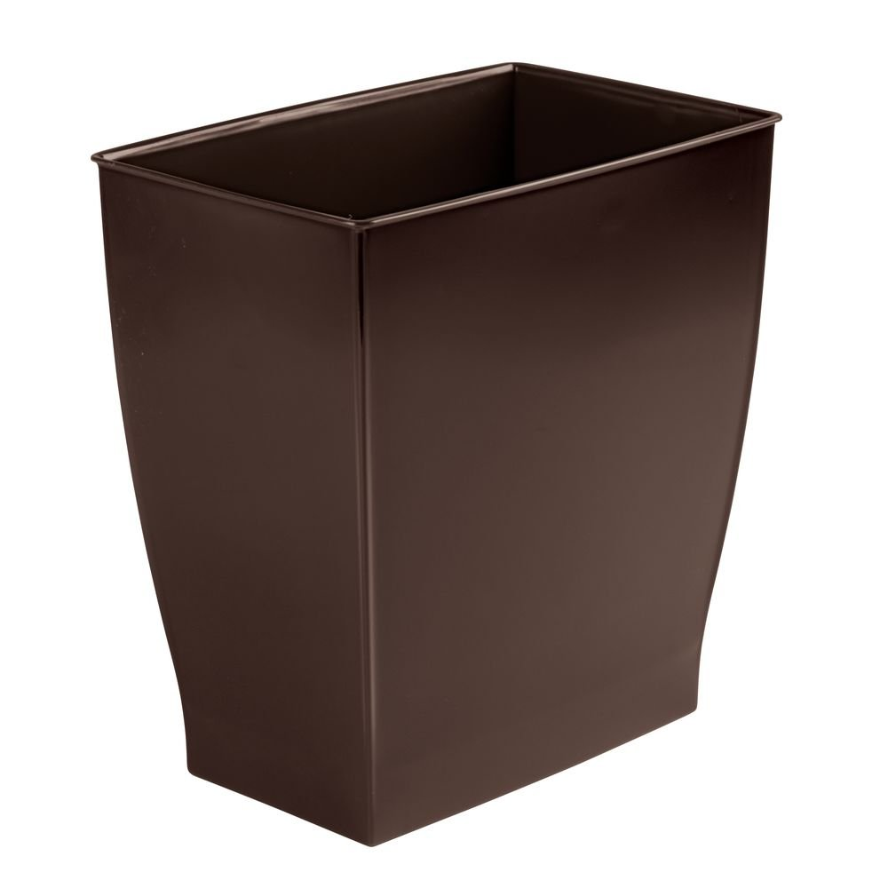 mDesign Rectangular Trash Can Wastebasket, Small Garbage Container Bin for Bathrooms, Powder Rooms, Kitchens, Home Offices - Shatter-Resistant Plastic - Dark Brown