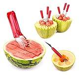 Primacc Watermelon Slicer Cutter Corer & Server with 2 in 1 Melon Baller Scoop & Carver and 6 Fruit Forks -- Ergonomic Silicone Handle