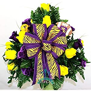 LSU Tiger's Purple and Yellow Roses 3 inch Vase Flower Arrangement 16