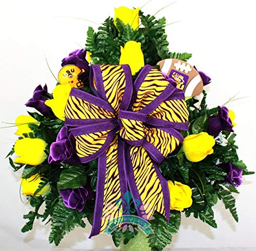 Purple Florist Rose (LSU Tiger's Purple and Yellow Roses 3 inch Vase Flower Arrangement)