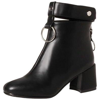 COOLCEPT Damen Western Hohe Ferse Winter Schuhe Zipper Kurzschaft Stiefel (34 EU, Beige)