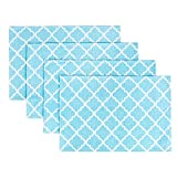 "Placemats, Placemats for Dining Table, Place Mats for Kitchen Table, Woven Cloth Quatrefoil Decor Table Mats Set of 4, Perfect for Spring/Summer Party Decor, Size 13"" x 19"", Color Teal Blue Placemats"