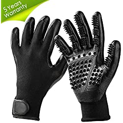 TWOPJ Pet Grooming Gloves, Pet Hair Removal Gentle Deshedding Brush Massage Tool with Adjustable Wrist Strap for Long and Short Hair Dogs, Cats, Horse -1 Pair (Black)