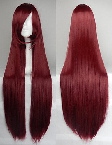 Beauty Fashion Wigs High Temperature Fiber Long Straight Wine Red Cosplay Costume Wig Side Bang (Harley Quinn Costume Commission)
