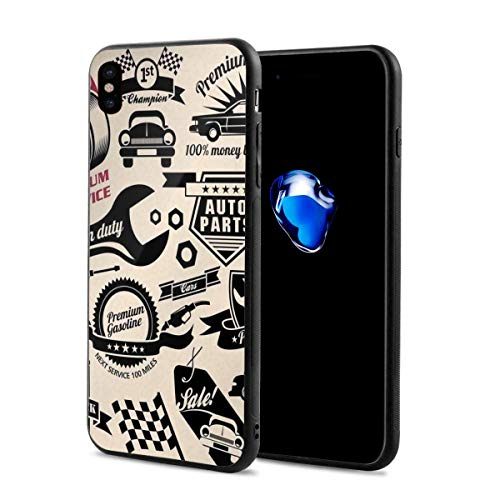 Phone Case Cover Compatible with iPhone X XS,Car Repair Shop Logos Monochrome Car Silhouettes Best Garage in Town,Compatible with iPhone X/XS 5.8]()