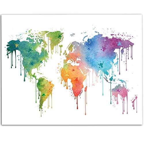 Dripping Watercolor Paint World Map - 11x14 Unframed Art Print - Great Living Room Decor and Gift for Travelers