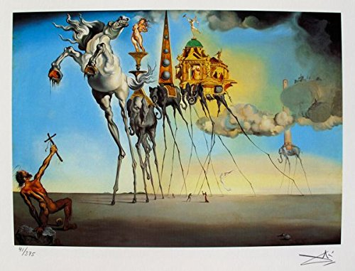 Art by Salvador Dali The Temptation Of St. Anthony Facsimile Signed & Numbered Giclee Print. After the Original Painting or Drawing. Paper 11 Inches X 14 Inches