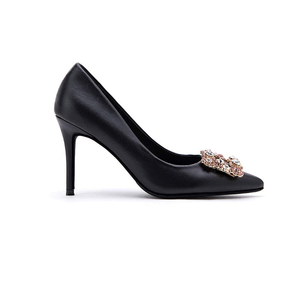 Noir Printemps Et D'été Nouveau Strass Pointu Stiletto Super Talons Hauts Chaussures Simples Sexy Satin Rouge Boucle Carrée Boucle De Mariage Chaussures Femmes Femmes Chaussures