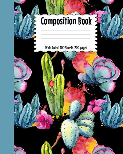 Composition Book: Cactus Watercolor notebook.  Perfect for all your notes, summaries, homework, tests, and many other uses