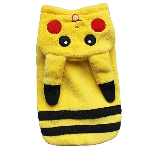 [Cilkus Costume Dog Clothes Double Thick Flannel Pikachu Pet Dog Clothes Fall and Winter (M)] (Weenie Costumes)