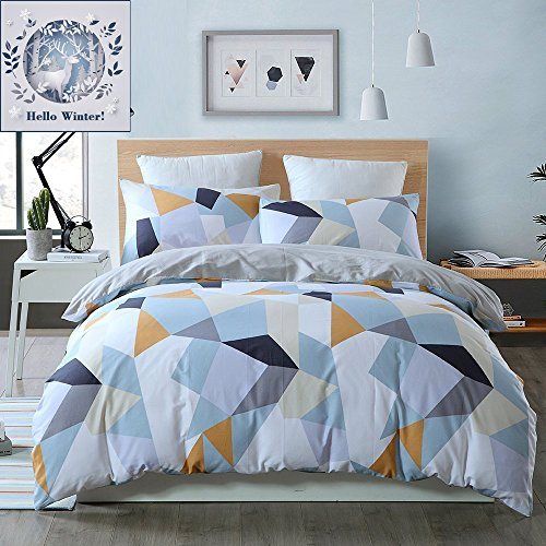 BuLuTu Bedding Geometric Kids Duvet Cover Sets Queen White For Boys Girls 100% Cotton Luxury Full Bedding Cover Sets Hidden Zipper Closure With 4 Corner Ties (No Comforter)