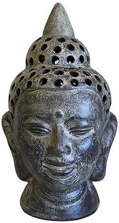 Linterna de jardín de la cabeza de Buda de cerámica grande: Amazon.es: Hogar