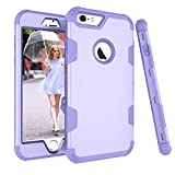 iPhone 6 Plus Case, AOKER Three Layer Heavy Duty High Impact Resistant Hybrid Protective Case For iPhone 6 Plus and iPhone 6s Plus5.5 inch Hybrid Hard Back Cover and Soft Silicone- (Purple)