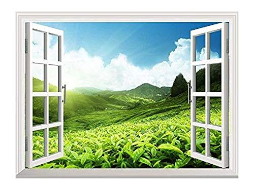 wall26 Removable Wall Sticker/Wall Mural - Tea Plantation in Mountain, Spring | Creative Window View Home Decor/Wall Decor - 24