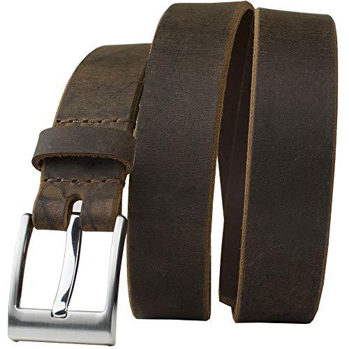 (Caraway Mountain Distressed Brown Belt- Nickel Smart - Distressed Brown Full Grain Leather Belt with Nickel Free Zinc Wide Pin Buckle - 48
