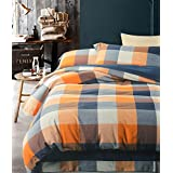 UFO Home 100% Cotton Flannel 3pc Duvet Cover Set, Yarn-dyed Bedding Set, 600 Thread Count High Percale, Orange Blue Grey Plaid, Button Close Inside Ties (Queen, Belinda-WL)