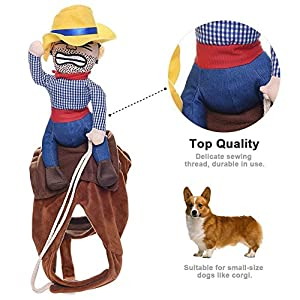 FanQube Dog Costume Cowboy Knight Rider Style Pet Suit for Dogs&Cats (Cowboy, L)