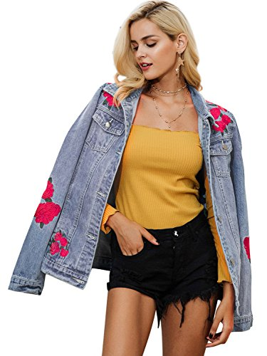 Simplee Women's Floral Embroidery Outwear Blue Denim Coat Jacket with Pockets
