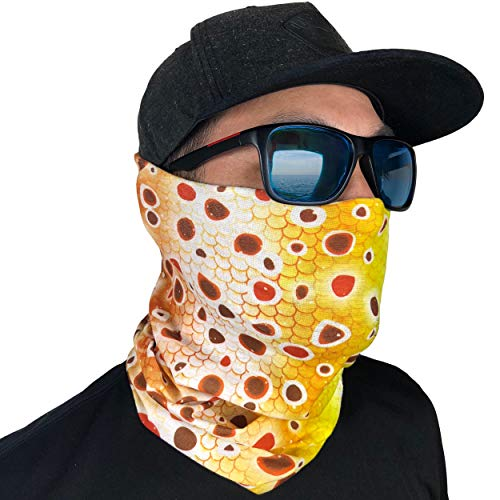 Fishing Mask Camo Headwear - Works as Fishing Sun Mask, Neck Gaiter, Headband, Bandana, Balaclava - Multifunctional Breathable Seamless Microfiber (Brown Trout)