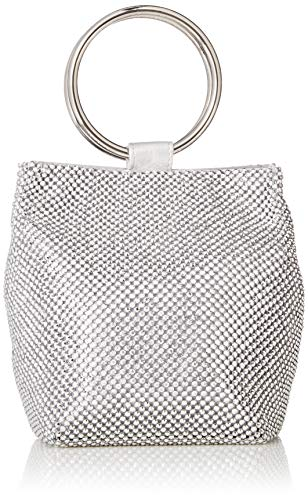 Jessica McClintock Gwen Sparkle Mesh Ring Pouch Clutch, Silver (Clutch Sequin Mesh)