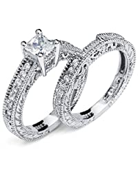 Metal Masters Co.® Sterling Silver 925 Princess Cut Carved Bridal Set Engagement Ring Wedding Band W/ Cubic Zirconia