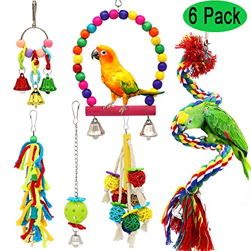 PETUOL Small Bird Swing Toys, 6 Packs Parrots Chewing Natural Wood and Rope Bungee Bird Toy for Anchovies, Parakeets, Cockatiel, Conure, Mynah, Macow and Other Small Birds
